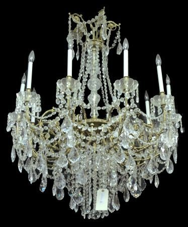 89: TEN-LIGHT MARIA THERESE STYLE CRYSTAL CHANDELIER