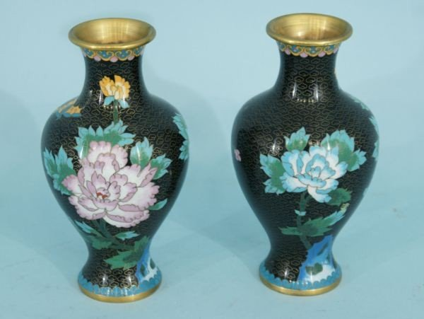 2A: PAIR OF ANTIQUE CHINESE CLOISONNE VASES