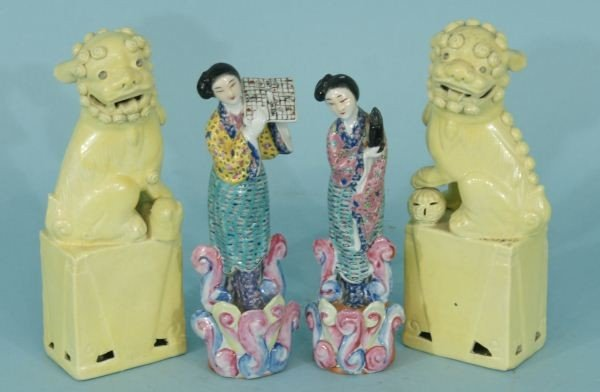 3: CHINESE FOO DOGS  & PAIR OF FEMALE DANCERS