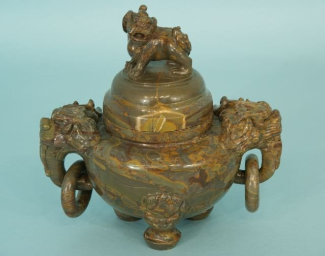 7A: CARVED CHINESE HARDSTONE LIDDED TEMPLE JAR