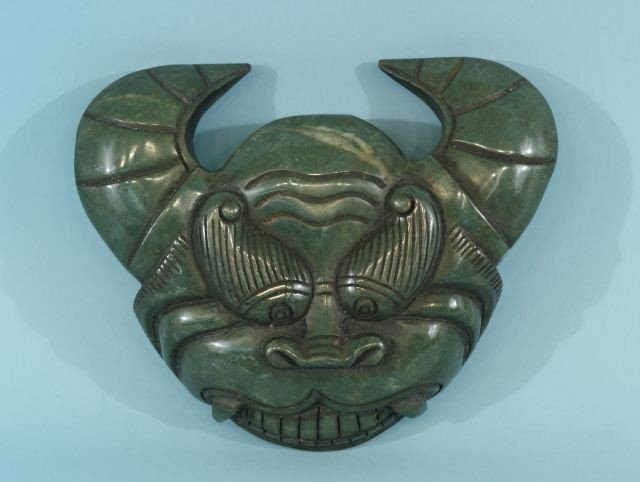 9A: ANCIENT CHINESE STYLE CARVED JADE MASK