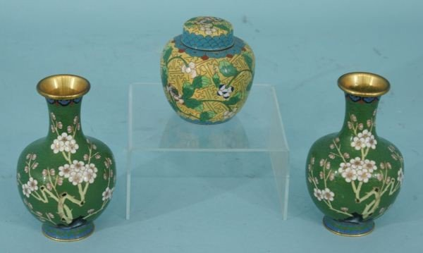 11: LOT OF THREE ORIENTAL CLOISONNE PIECES