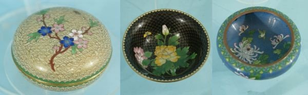 12A: THREE CHINESE CLOISONNE PIECES