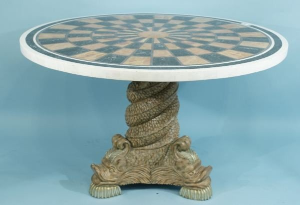9: CARVED DOLPHIN MOTIF PEDESTAL CENTER TABLE