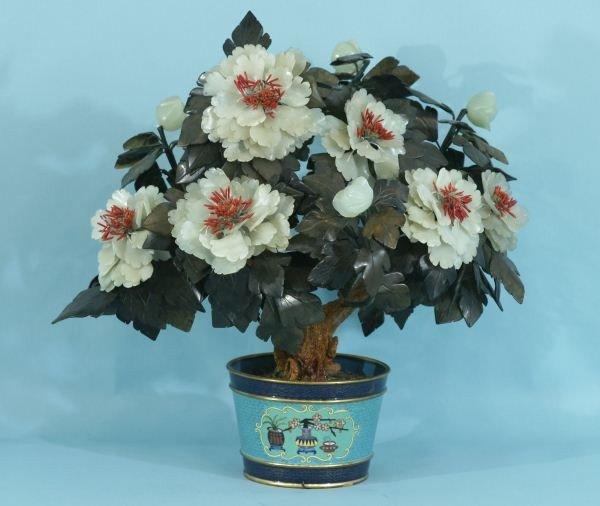 20: JADE FLOWER TREE IN CLOISONNE CACHEPOT