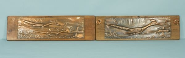 188: SLIM RUSTIN COPPER RELIEFS OF ROADRUNNERS PLACQUES