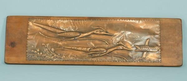 188: SLIM RUSTIN COPPER RELIEFS OF ROADRUNNERS PLACQUES - 2