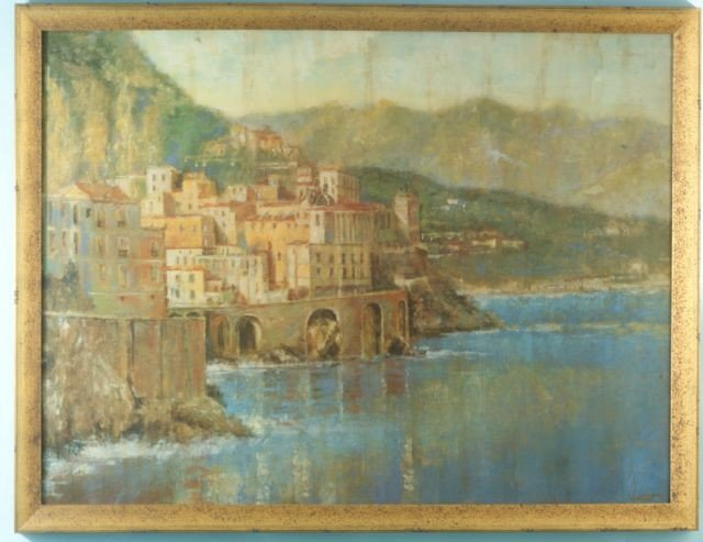 """8B: GILT FRAMED PRINT OF """"SEASIDE"""" WITH TEXTURE FINISH"""