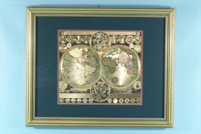 8C: GILT FRAMED MIXED MEDIA COLLAGE MAP OF THE WORLD