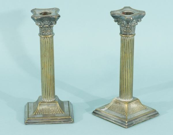 8: PAIR OF 19th CENTURY SILVERPLATE COLUMN CANDLESTICKS