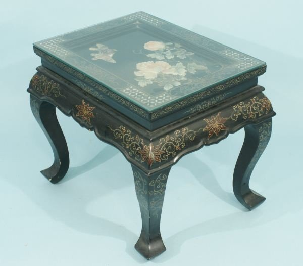 9: EBONIZED CHINESE TABLE WITH WITH INLAID TOP