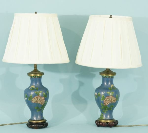 12: PAIR OF ANTIQUE CLOISONNE VASES CONVERTED TO LAMPS