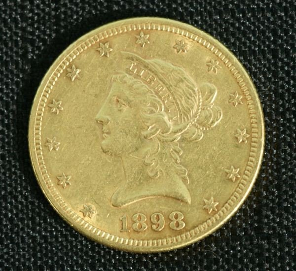 17C: 1898 US $10 GOLD COIN 16.7 GRAMS