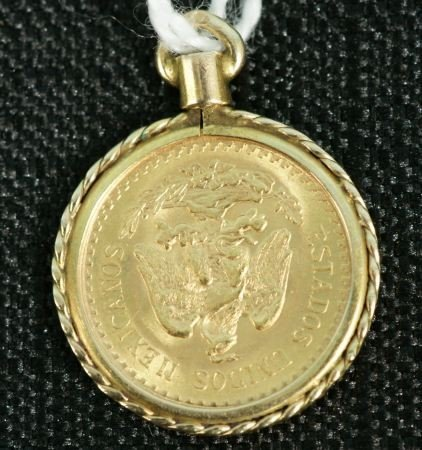 17F: 1945 MEXICAN GOLD COIN MOUNTED IN 14K GOLD PENDANT