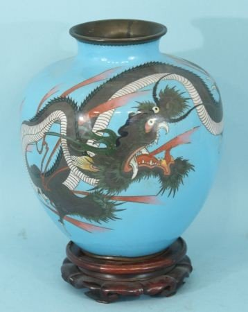 6: ANTIQUE CHINESE IMPERIAL CLOISONNE DRAGON VASE