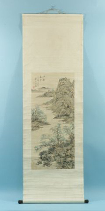 11: VINTAGE PAINTED CHINESE GARDEN SCENE SCROLL