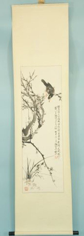 12: VINTAGE PAINTED CHINESE BIRD SCROLL