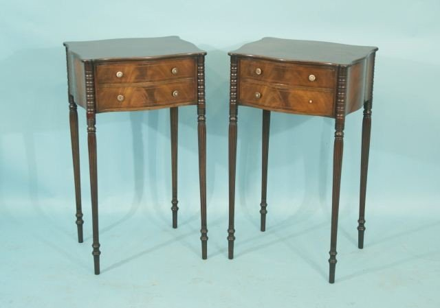 15: PAIR OF SHERATON MAHOGANY SIDE TABLES, CIRCA 1840