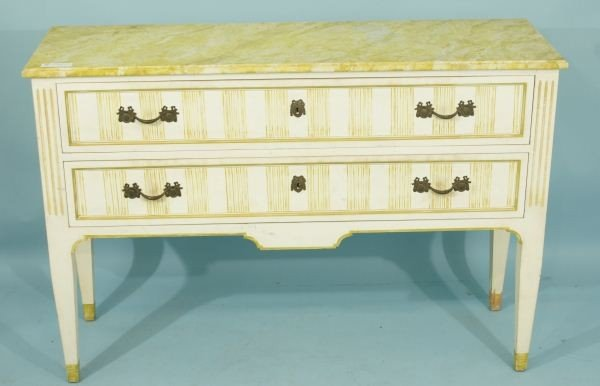 16: FAUX MARBLE TOP PAINTED CHEST OF DRAWERS