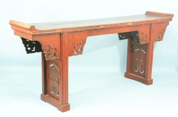 17: ANTIQUE CHINESE ALTAR WITH CARVED APRON
