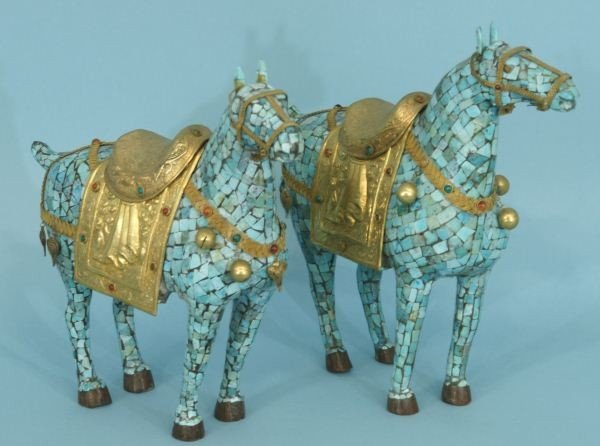 18: PAIR OF TURQUOISE TILED HORSES