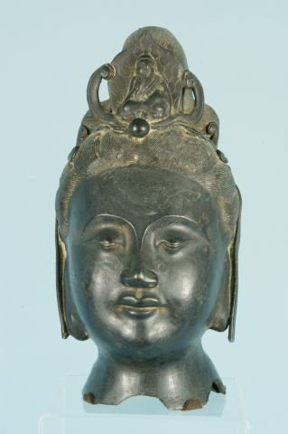19: VERY FINE 18th CENTURY BRONZE BUDDHA HEAD