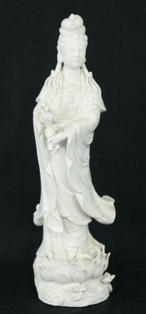 20: 19th CENTURY QUAN YIN BLANC DE CHINE FIGURE