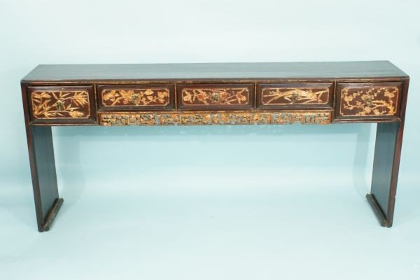 23: ANTIQUE CHINESE CARVED & GILDED ALTAR TABLE