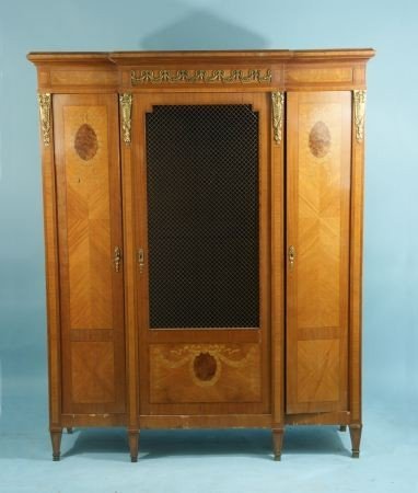 41: LOUIS XVI STYLE BOOKCASE WITH INLAY, CIRCA 1890