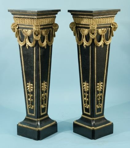 47: PAIR OF TILED MARBLE AND GILDED PEDESTALS