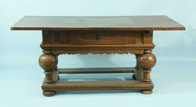 52: 17th CENTURY OAK CARVED WORK TABLE