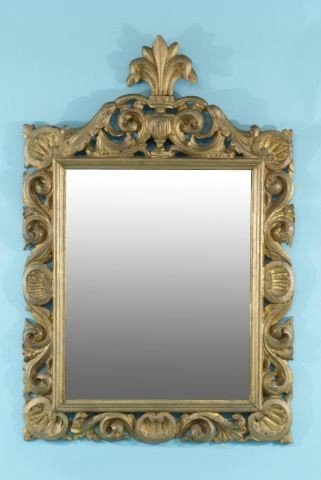 53: ANTIQUE ITALIAN WOOD CARVED AND GILDED MIRROR