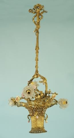 74: FRENCH ANTIQUE BASKET SHAPED BRASS CHANDELIER