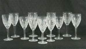 99A LOT OF TWELVE WATERFORD LISMORE CRYSTAL GOBLETS