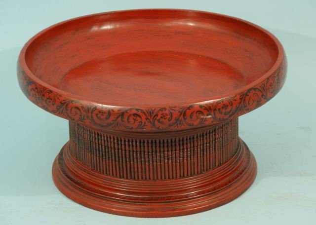1: ANTIQUE RED LACQUER ROUND FOOTED DISH
