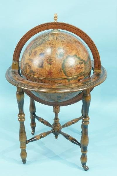5: WOODEN GLOBE/BAR ON CASTERS