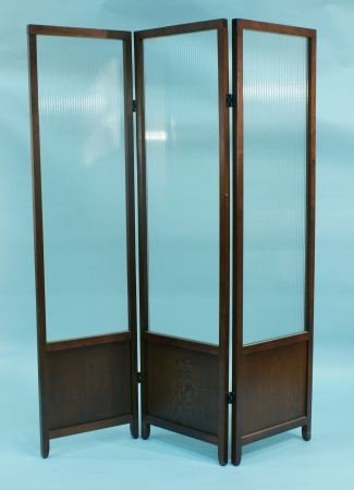 9: THREE-PANEL SCREEN WITH GLASS INSETS