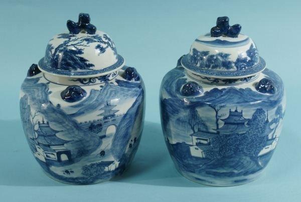 12: PAIR ORIENTAL BLUE & WHITE PORCELAIN LIDDED JARS