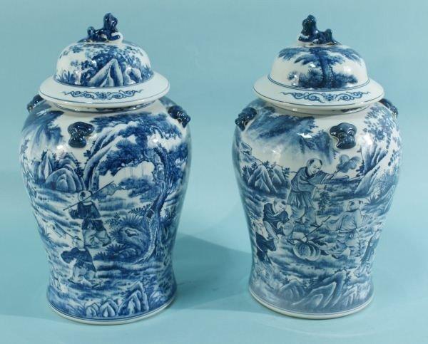 14: PAIR ORIENTAL BLUE & WHITE PORCELAIN LIDDED JARS