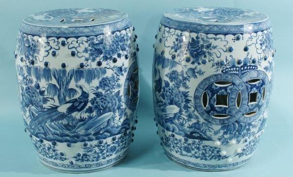 16: PAIR CHINESE BLUE & WHITE PORCELAIN GARDEN STOOLS
