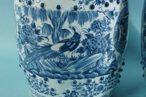 16: PAIR CHINESE BLUE & WHITE PORCELAIN GARDEN STOOLS - 2