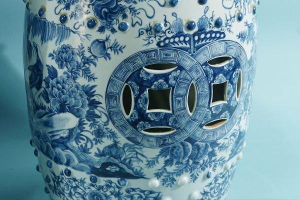 16: PAIR CHINESE BLUE & WHITE PORCELAIN GARDEN STOOLS - 3