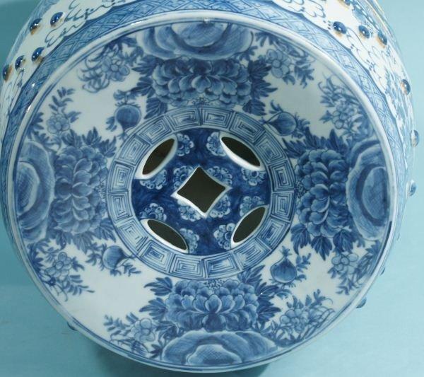 16: PAIR CHINESE BLUE & WHITE PORCELAIN GARDEN STOOLS - 5