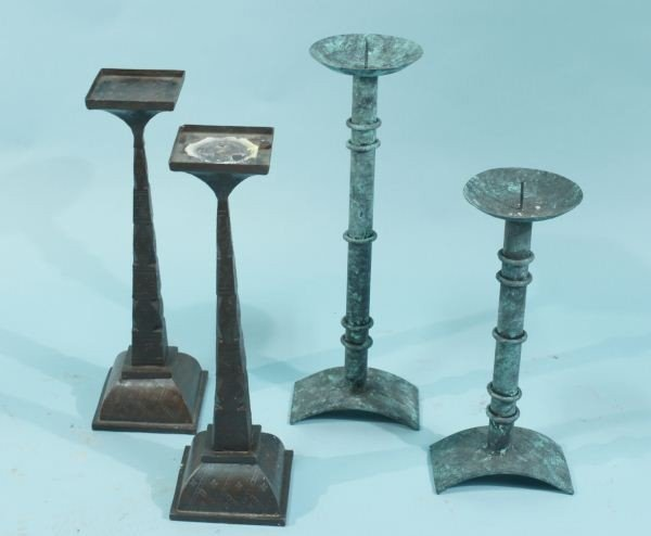 17: ONE PAIR IRON & ONE PAIR COPPER CANDLESTICKS