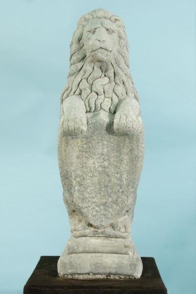 18: CAST STONE GUARDIAN LION SCULPTURE