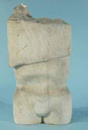 22: CARVED MARBLE NUDE TORSO