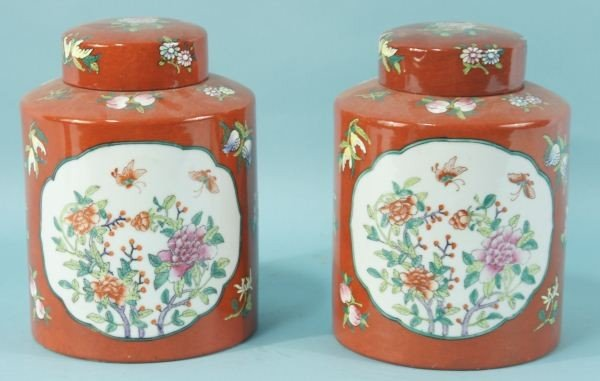 1: PAIR OF PORCELAIN ORIENTAL LIDDED JARS