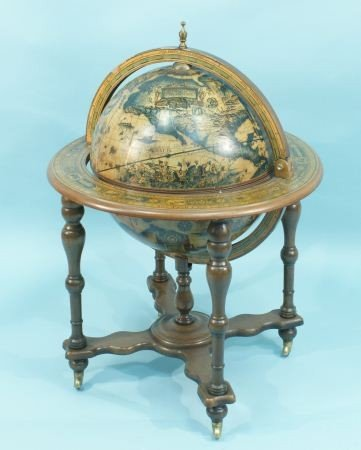 4: WOODEN GLOBE BAR ON CASTERS