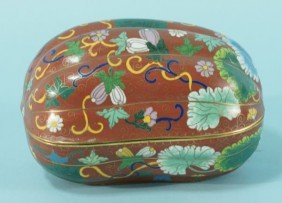 5: VINTAGE MELON SHAPED CLOISONNE BOX