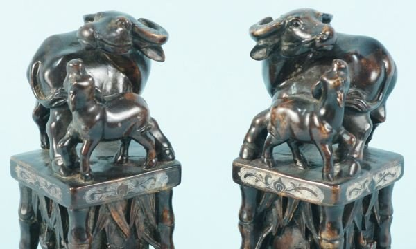 6: PAIR OF SOAPSTONE CARVED WATER BUFFALO - 3
